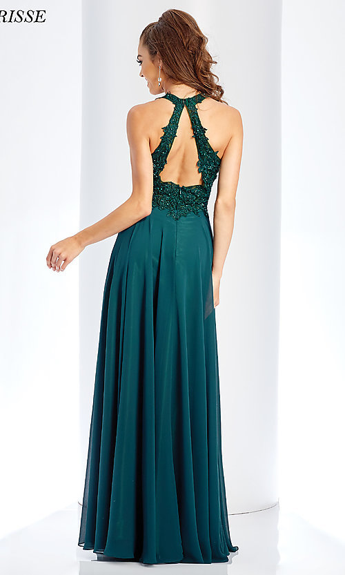 Image of embroidered-bodice long chiffon formal dress. Style: CLA-3528 Back Image