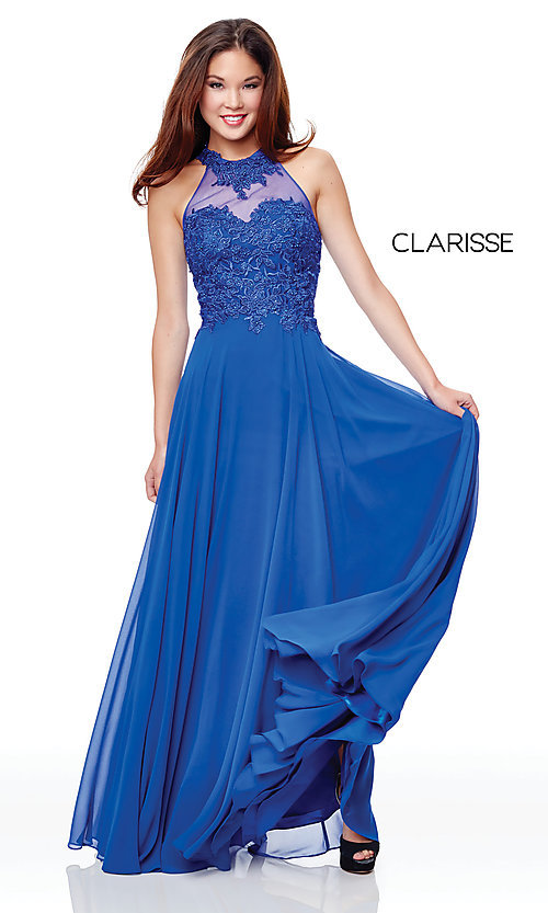 Image of embroidered-bodice long chiffon formal dress. Style: CLA-3528 Detail Image 4
