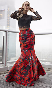 Image of red and black print two-piece long formal prom dress. Style: CLA-4808 Front Image