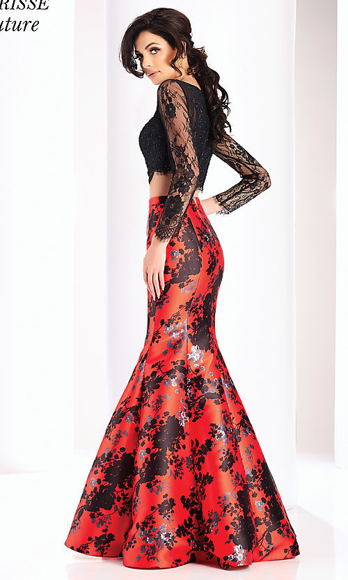 Image of red and black print two-piece long formal prom dress. Style: CLA-4808 Back Image
