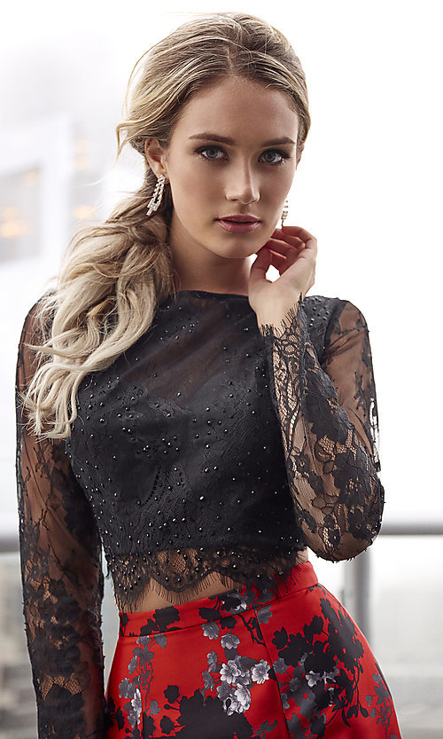 Image of red and black print two-piece long formal prom dress. Style: CLA-4808 Detail Image 1