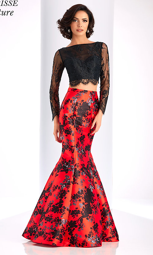 Image of red and black print two-piece long formal prom dress. Style: CLA-4808 Detail Image 2
