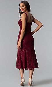 Image of midi-length mother-of-the-bride sequin-lace dress. Style: SF-8863 Back Image