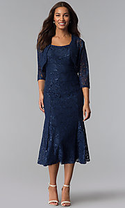 Image of midi-length mother-of-the-bride sequin-lace dress. Style: SF-8863 Front Image