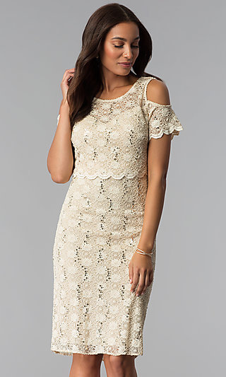 Popover Bodice Short Lace Mother-of-the-Bride Dress