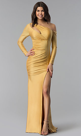 Long Atria Asymmetrical Neckline Ruched Prom Dress