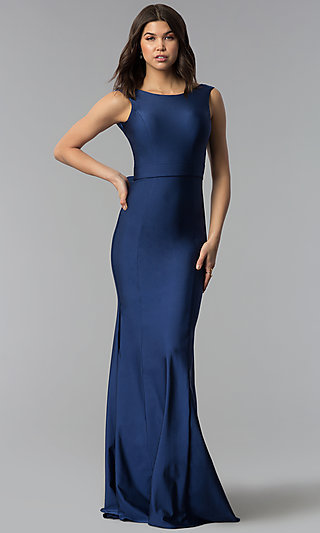 Bateau Neck Long Open Back Atria Prom Dress