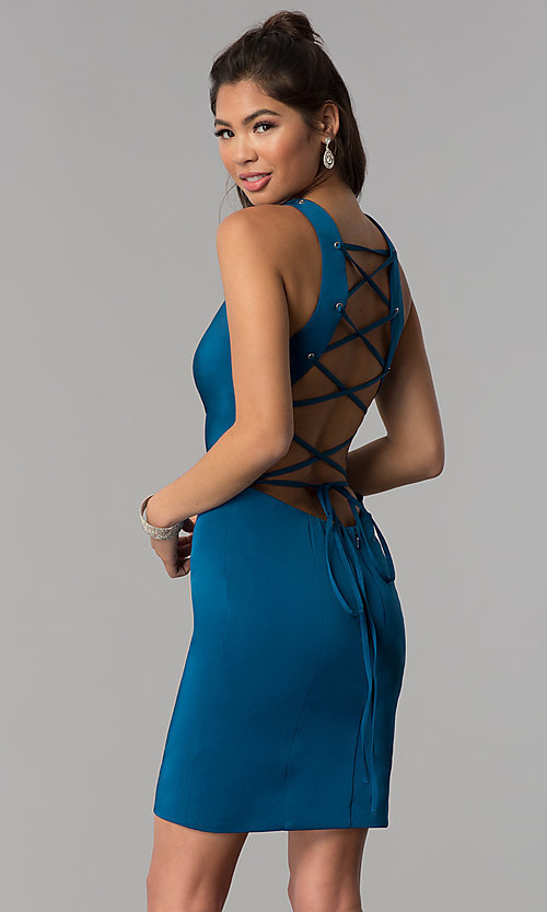Image of short sheath corset tie-back teal homecoming dress. Style: DJ-A3690 Front Image