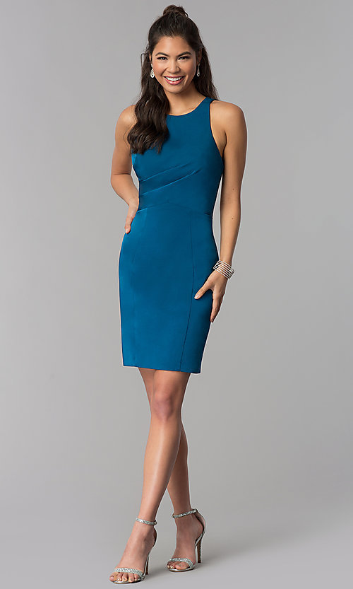 Image of short sheath corset tie-back teal homecoming dress. Style: DJ-A3690 Detail Image 3
