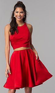 Image of corset-back short two-piece red homecoming dress. Style: DJ-A3688 Back Image