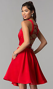 Image of corset-back short two-piece red homecoming dress. Style: DJ-A3688 Front Image