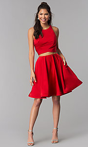 Image of corset-back short two-piece red homecoming dress. Style: DJ-A3688 Detail Image 3