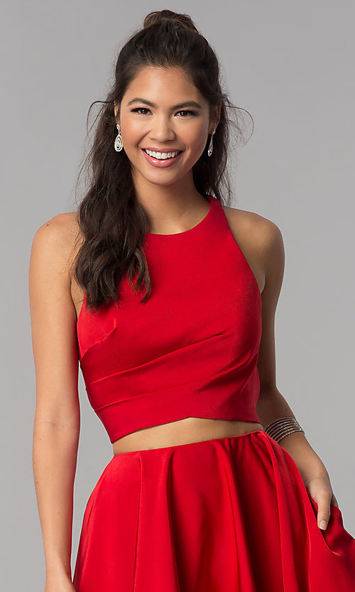 Image of corset-back short two-piece red homecoming dress. Style: DJ-A3688 Detail Image 1