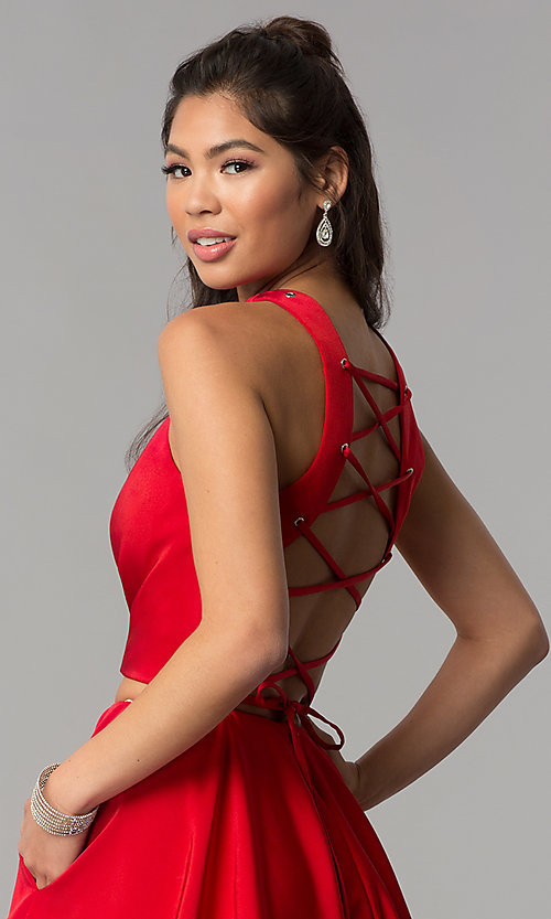 Image of corset-back short two-piece red homecoming dress. Style: DJ-A3688 Detail Image 2