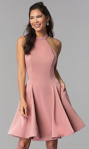 Image of satin short homecoming party dress with pockets. Style: DJ-A3645 Front Image