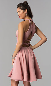 Image of satin short homecoming party dress with pockets. Style: DJ-A3645 Back Image