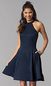 Image of satin short homecoming party dress with pockets. Style: DJ-A3645 Detail Image 2