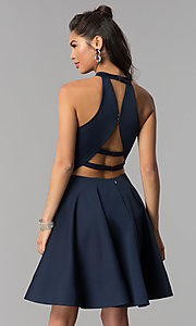 Image of satin short homecoming party dress with pockets. Style: DJ-A3645 Detail Image 3