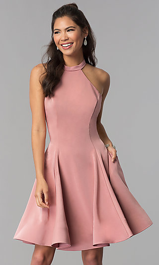 Satin Short Homecoming Party Dress with Pockets
