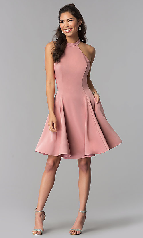 Image of satin short homecoming party dress with pockets. Style: DJ-A3645 Detail Image 1