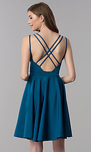 Image of triple-strap short teal blue homecoming party dress. Style: DJ-A3644 Back Image