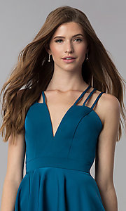 Image of triple-strap short teal blue homecoming party dress. Style: DJ-A3644 Detail Image 1