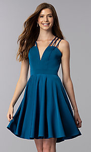 Image of triple-strap short teal blue homecoming party dress. Style: DJ-A3644 Front Image
