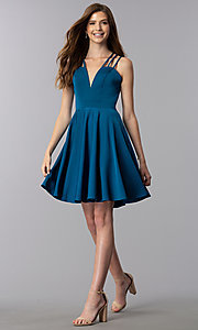 Image of triple-strap short teal blue homecoming party dress. Style: DJ-A3644 Detail Image 3