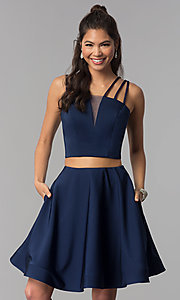 Image of multi-strap two-piece navy blue homecoming dress. Style: DJ-A3755 Front Image