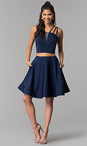Image of multi-strap two-piece navy blue homecoming dress. Style: DJ-A3755 Detail Image 2