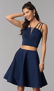 Image of multi-strap two-piece navy blue homecoming dress. Style: DJ-A3755 Detail Image 3