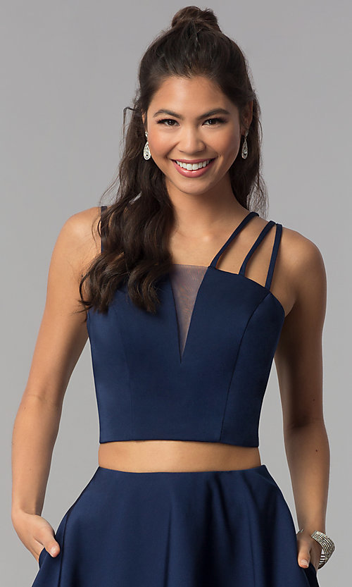 Image of multi-strap two-piece navy blue homecoming dress. Style: DJ-A3755 Detail Image 1
