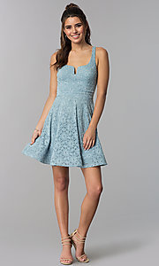 Image of square-neck lace wedding guest short blue dress. Style: MY-5167QJ1C Detail Image 3