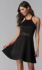 Image of racerback sheer-waist black party dress. Style: MY-5185SX1C Front Image