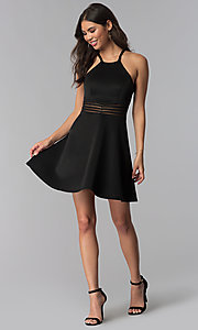 Image of racerback sheer-waist black party dress. Style: MY-5185SX1C Detail Image 3