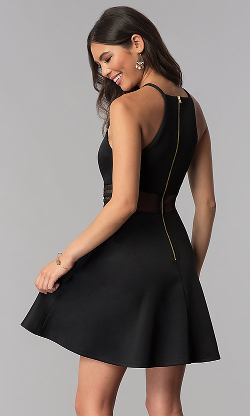 Image of racerback sheer-waist black party dress. Style: MY-5185SX1C Back Image