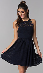 Image of short wedding-guest navy blue lace dress. Style: MY-5149QU1D Front Image