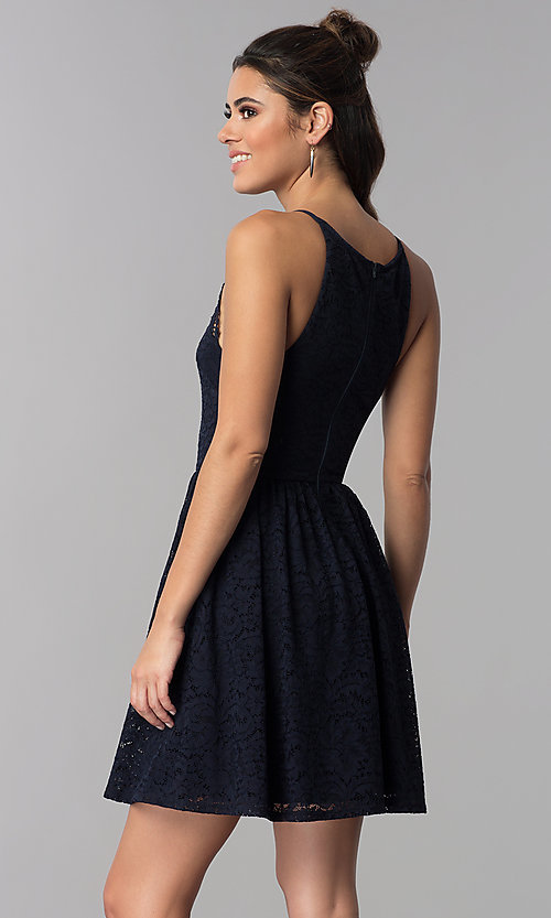 Image of short wedding-guest navy blue lace dress. Style: MY-5149QU1D Back Image