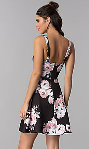 Image of floral-print empire-waist short party dress Style: MY-5161SE1C Back Image