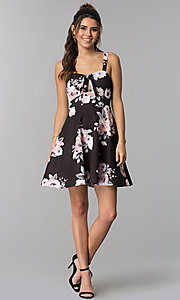 Image of floral-print empire-waist short party dress Style: MY-5161SE1C Detail Image 3