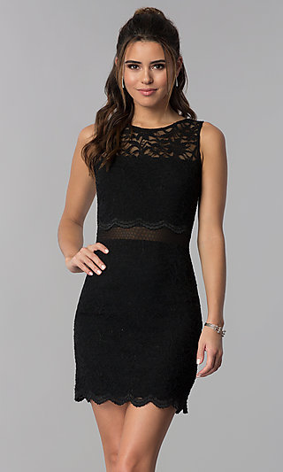Little Black Lace Party Dress with Sheer Waist