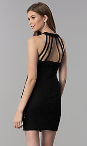 Image of short caged-open-back lace cocktail party dress.  Style: JU-10806 Front Image