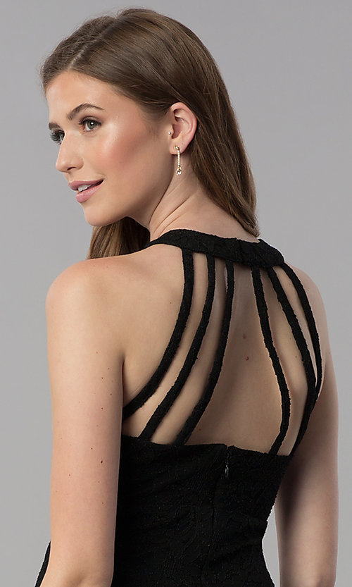 Image of short caged-open-back lace cocktail party dress.  Style: JU-10806 Detail Image 1
