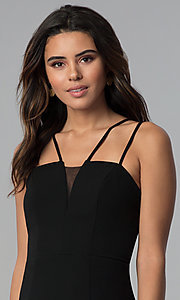 Image of multi-strap faux-wrap short black party dress.  Style: CT-7711HG7AT3 Detail Image 1
