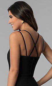 Image of multi-strap faux-wrap short black party dress.  Style: CT-7711HG7AT3 Detail Image 2