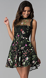 Image of embroidered-print short black party dress. Style: CT-8380AY5AT3 Front Image