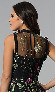 Image of embroidered-print short black party dress. Style: CT-8380AY5AT3 Detail Image 2
