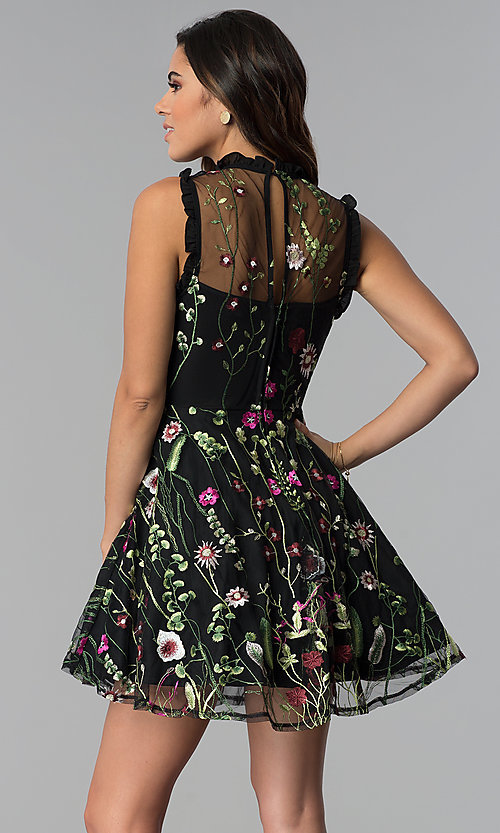 Image of embroidered-print short black party dress. Style: CT-8380AY5AT3 Back Image
