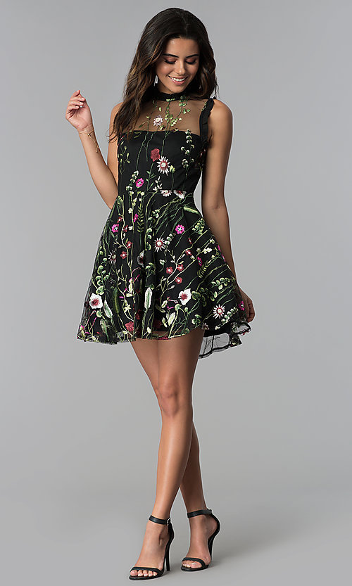 Image of embroidered-print short black party dress. Style: CT-8380AY5AT3 Detail Image 3