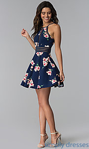 Image of wedding guest short navy floral-print party dress. Style: CT-7689JD6DT1 Detail Image 3